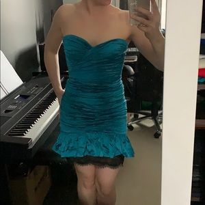 BCBGMaxAzria Dresses - NWT BCBG- Stunning turquoise with lace strapless!